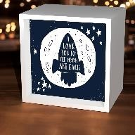 I Love You To the Moon Spaceship Light Box,LBX-W-23985