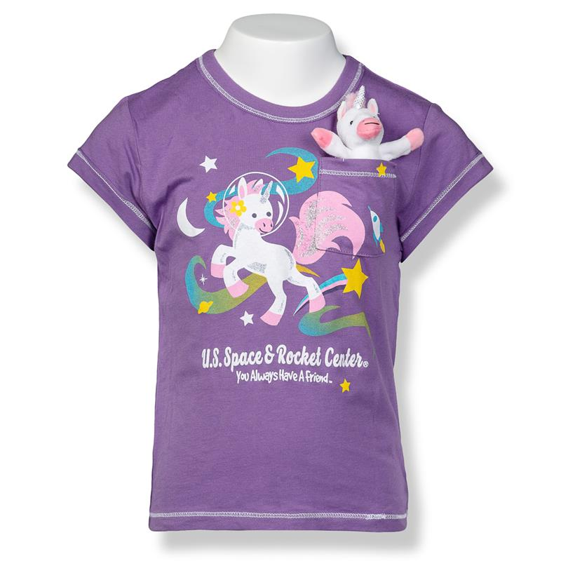 Pocket Unicorn Space Girls Cap Sleeve T-Shirt,P147-K/514M