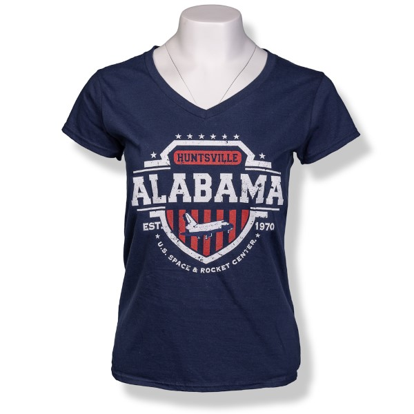 Americana Shield Ladies V-Neck T-Shirt,ROCKET CENTER,S131754/39995/64V00L